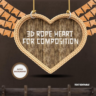 3d render heart with rope flags for festa junina