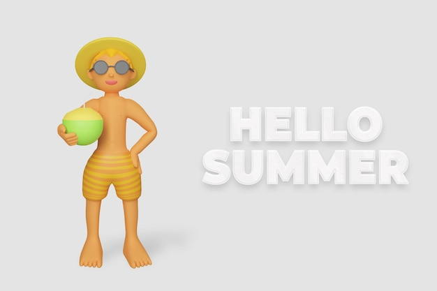 3d 렌더링 안녕하세요 여름 배너