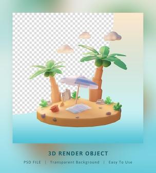 3d визуализация привет летний шаблон иллюстрации с кокосовой пальмой и пляжем с зонтиком