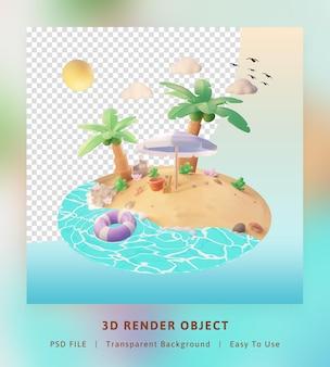 3d визуализация привет летний шаблон иллюстрации с кокосовой пальмой и пляжем зонтиком