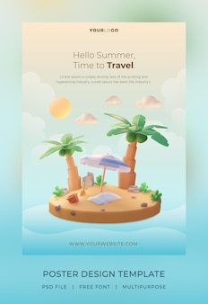 3d render, hello summer poster template, with illustration coconut tree and umbrella beach