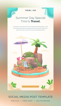 Шаблон поста в социальных сетях hello summer с иллюстрацией кокосовой пальмы и зонтика