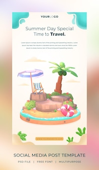 3d визуализация привет лето шаблон поста в социальных сетях с иллюстрацией кокосовой пальмы и зонтика