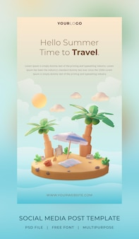 3d render, hello summer, social media post story template, with illustration coconut tree and umbrella beach
