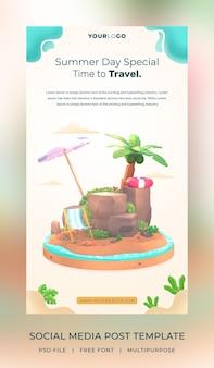 3d визуализация привет лето шаблон поста в социальных сетях с иллюстрацией кокосовой пальмы