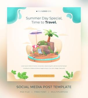 Шаблон сообщения в социальных сетях hello summer с иллюстрацией кокосовой пальмы и зонтиком bea