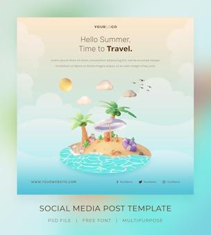 3d визуализация, hello summer, шаблон сообщения в социальных сетях, с иллюстрацией кокосовой пальмы и пляжем с зонтиком