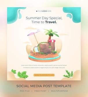 3d визуализация привет лето шаблон сообщения в социальных сетях с иллюстрацией кокосовой пальмы и зонтика