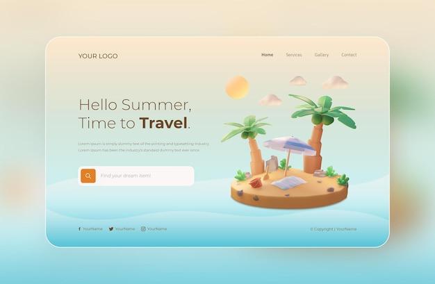 3d визуализация, hello summer, шаблон веб-сайта, с кокосовой пальмой и пляжем с зонтиком