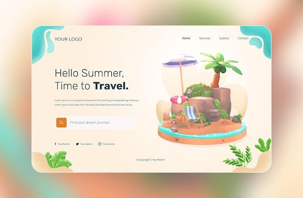 3dレンダリング、ハローサマー、ウェブサイトテンプレート、イラスト付きココナッツツリーと傘のビーチ