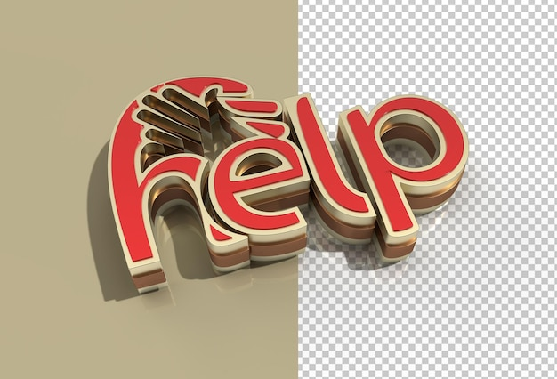 3d render help calligraphic with human hand transparent psd file.