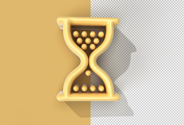 추상 투명 psd 파일과 3d 렌더링 모래 시계 마우스 기호