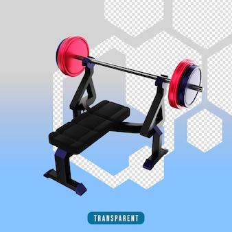3d 렌더링 아이콘 벤치 프레스 체육관 장비