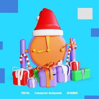 3d 렌더링 아이콘 시계 선물 상자 사탕