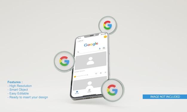 3d render icon google illustration mobile phone mockup