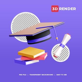 3d 렌더링 아이콘 졸업 모자와 책