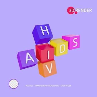 3dレンダリングアイコンのhivエイズ
