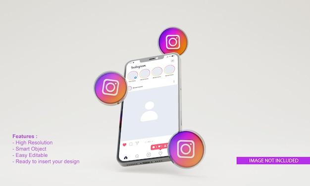 3dレンダリングアイコンinstagramのイラスト携帯電話のモックアップ