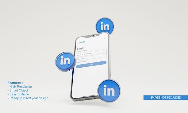 그림 휴대 전화 목업에 연결된 3d 렌더링 아이콘