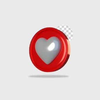3d визуализация значок любовь дизайн