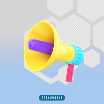 3d 렌더링 아이콘 확성기