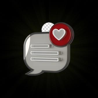 3d render icon message design