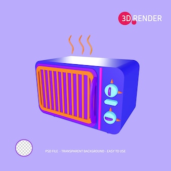3d render icon microwave