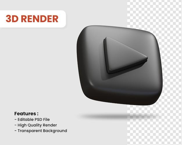 재생 버튼 격리 된 어두운 색의 3d 렌더링 아이콘