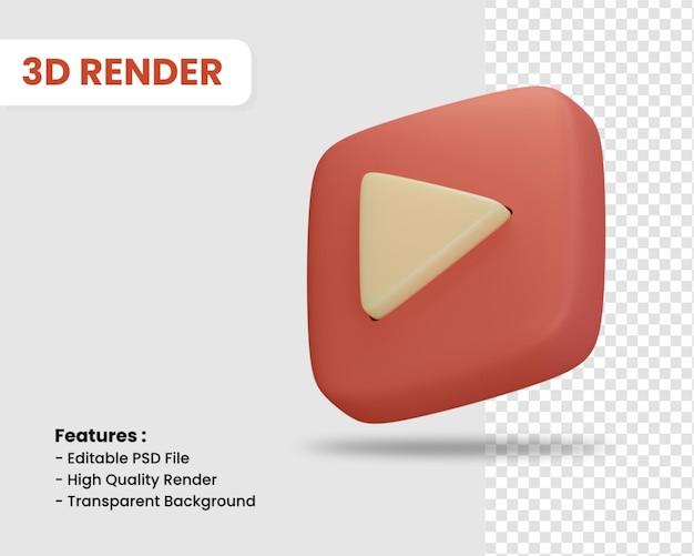 고립 된 재생 버튼의 3d 렌더링 아이콘