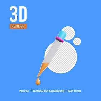 Пипетка пастера значок 3d визуализации