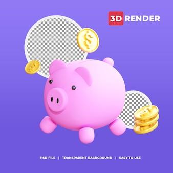 3d render icon piggy saving with golden dollar
