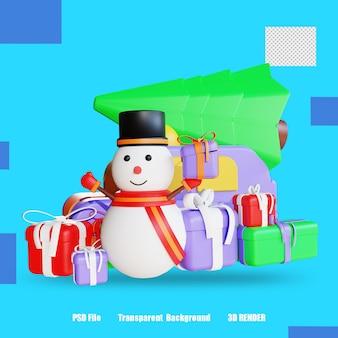 3d 렌더링 아이콘 눈사람 선물 상자 나무 2