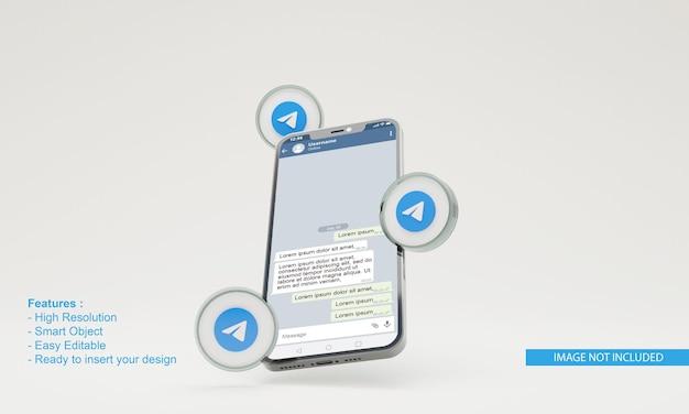 3d визуализация значок телеграмма иллюстрации макет мобильного телефона