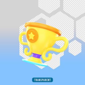 Трофей со значком 3d-рендеринга