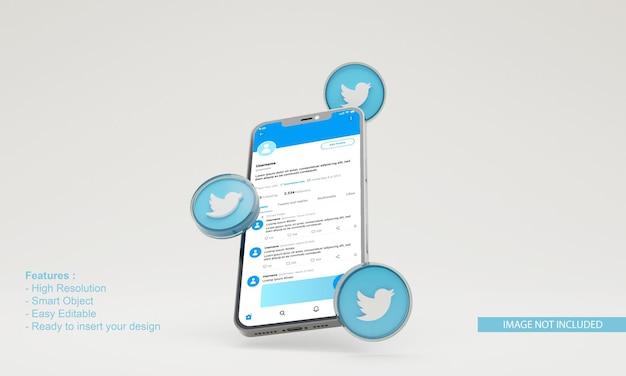 3d визуализация значок twitter иллюстрация макет мобильного телефона