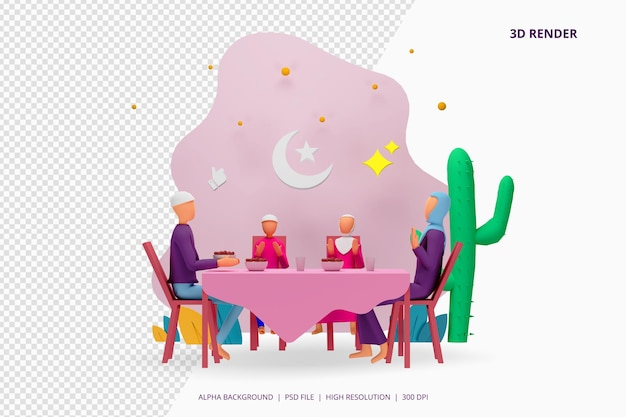 3d render iftar eating after fasting party concept.