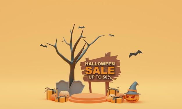 3d render illustration background stand halloween pumpkin sale