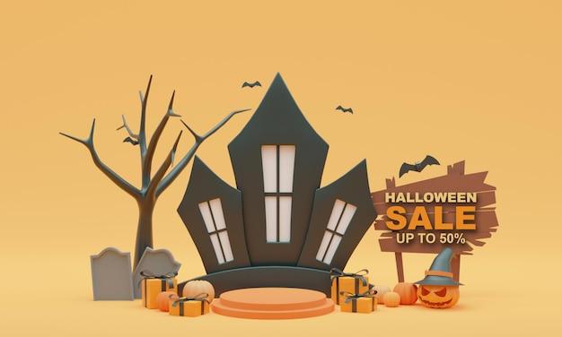 3d render illustration background stand halloween sale