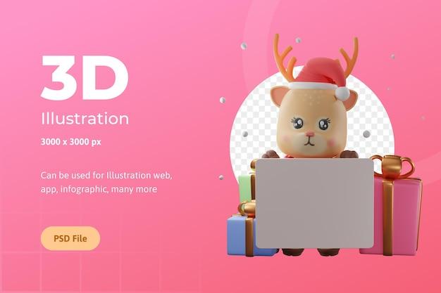 ウェブアプリのインフォグラフィックなどに使用されるギフトボックス付きの3dレンダリングイラストクリスマストナカイ