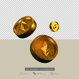 3d визуализация иллюстрации монеты эфириума