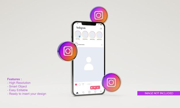 3dレンダリングイラストinstagramアイコン携帯電話のモックアップ