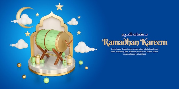 3d render illustration of islamic decoration for ramadan kareem greeting template