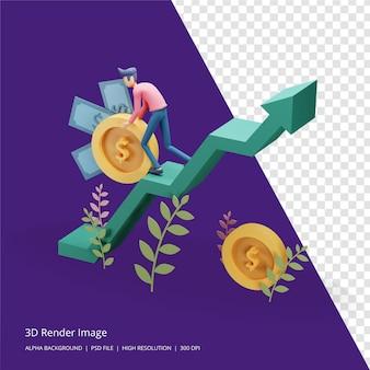 3d визуализация иллюстрации бизнес-инвестиционной концепции