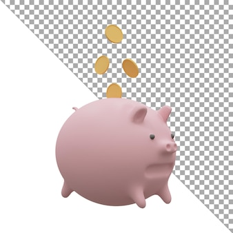 3d render illustration piggy bank