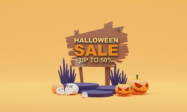 3d render illustration stand halloween sale