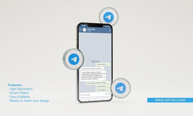 3d визуализация иллюстрации значок телеграммы мобильный телефон макет