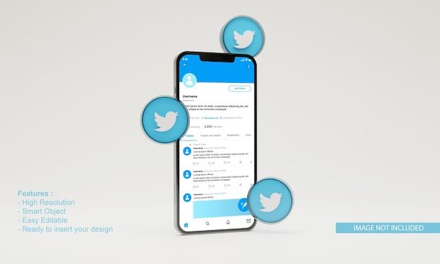 3d визуализация иллюстрации twitter icon макет мобильного телефона