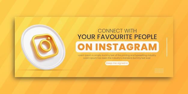 ソーシャルメディアのfacebookカバーデザインテンプレートの3dレンダリングinstagramビジネスプロモーション