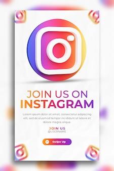 소셜 미디어 인스 타 그램 스토리 템플릿에 대한 3d 렌더링 인스 타 그램 비즈니스 프로모션