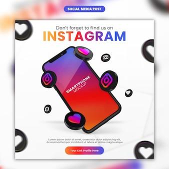 3d визуализация значок instagram и смартфон в социальных сетях и шаблон сообщения instagram